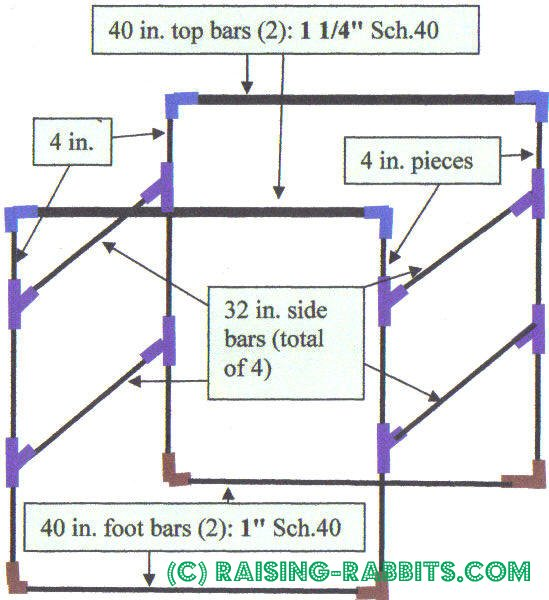 PVC frame specs for a large indoor rabbit cage