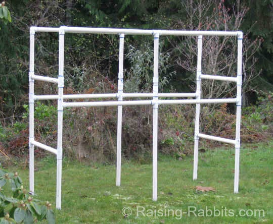 PVC Rabbit Hutch Frame fully constructed.