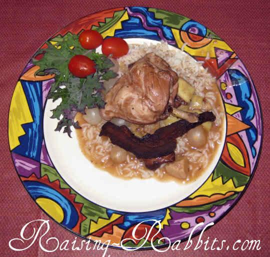 Rabbit in Wine Recipe, plated