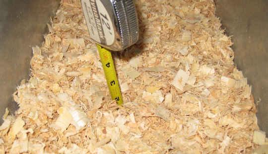 2 inches shavings in bottom of rabbit nest box