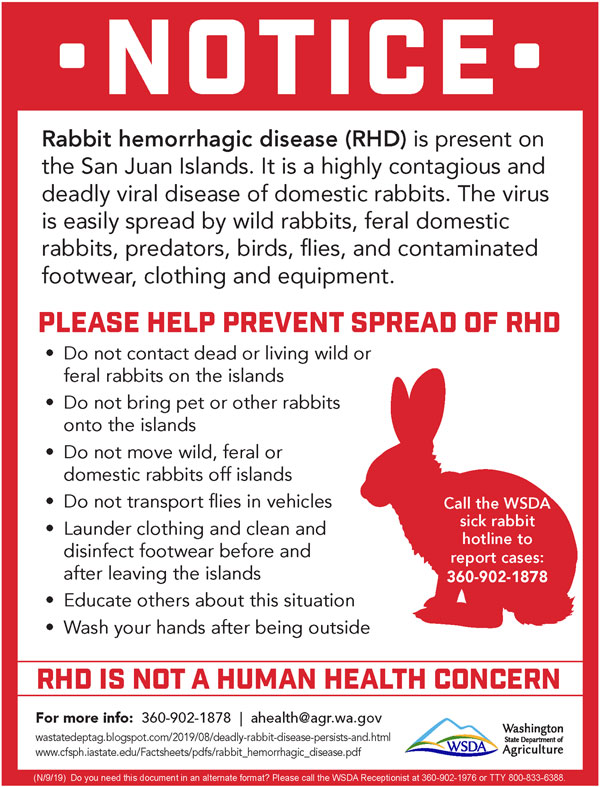 WA Dept of Agriculture Warning Notice about RHD