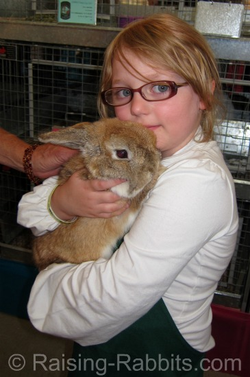 Young County Fair exhibitor with her Mini Lop rabbit