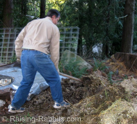 Bill shovels piles of rabbit manure