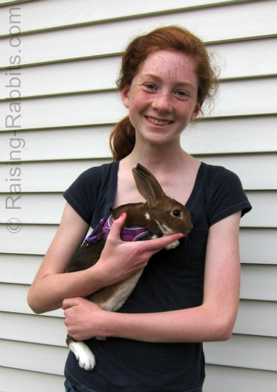 Friend Carmen with her new pet rabbit