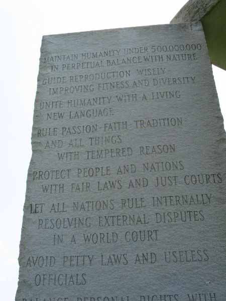 Agenda 21 '10 Guidelines' on Georgia Guidestone Monument