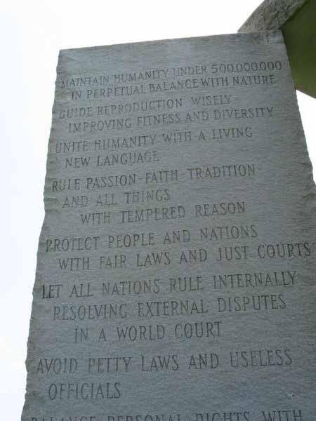 Agenda 21 '10 Guidelines' on Georgia Guidestone Monument
