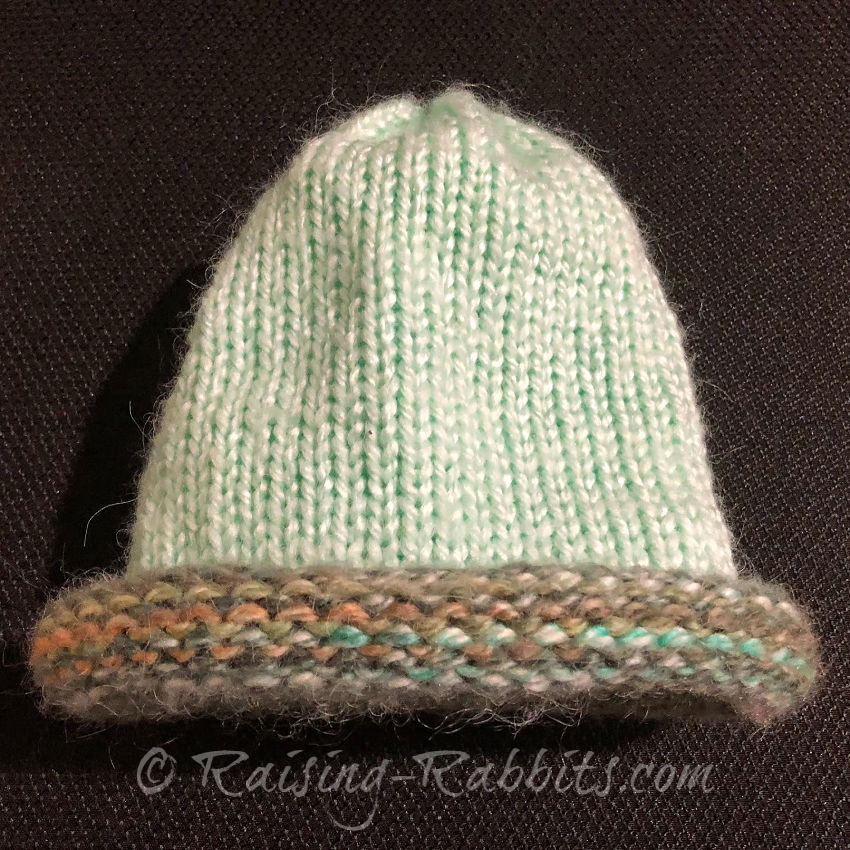 Mint colored cap, variegated brim.