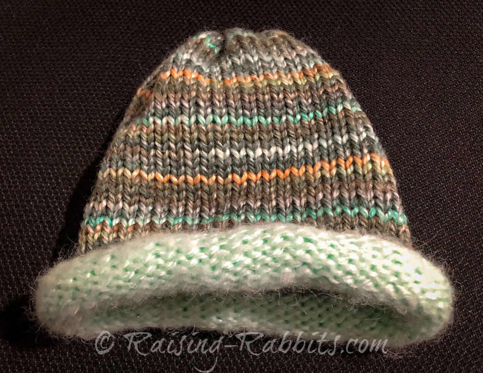 Warm toned variegated cap, mint colored brim.
