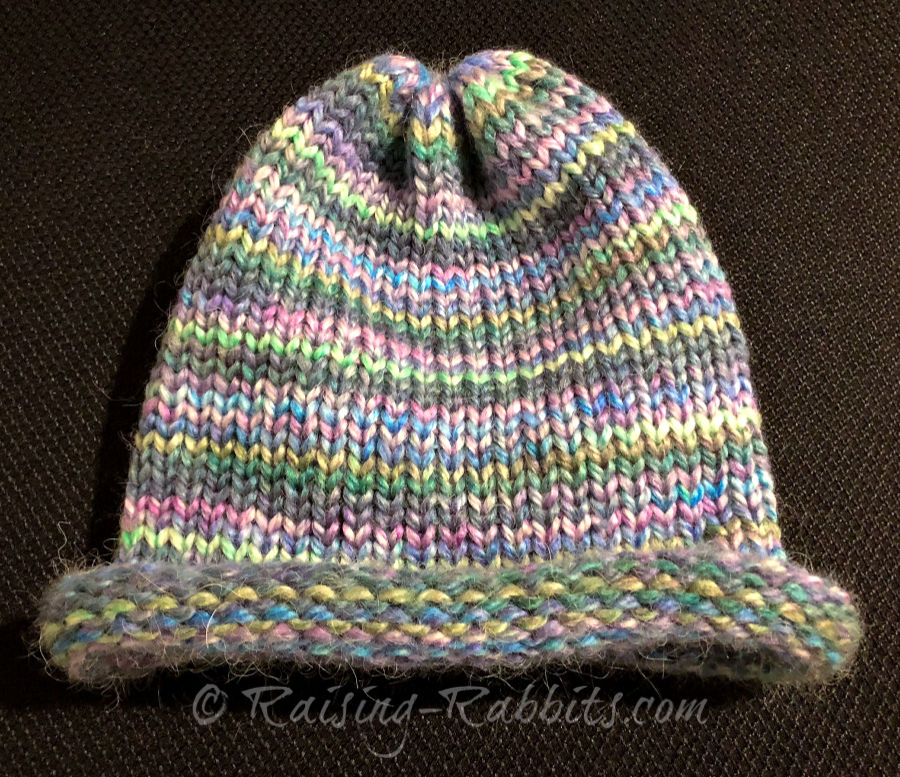 Multi-colored cap, rolled brim.