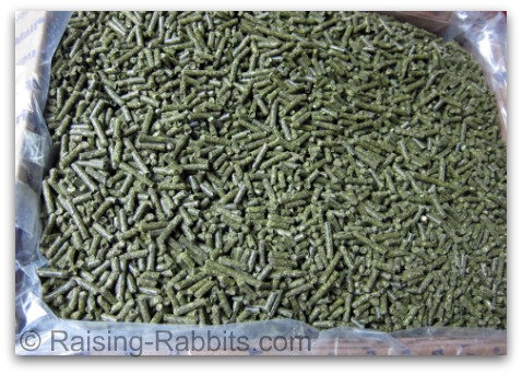 Rabbit Farming - photo of top quality commercial pelleted rabbit feed from Sherwood Forest Feed